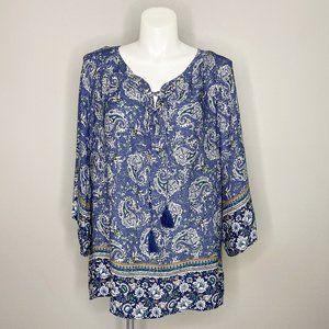 Dressbarn Blue Paisley Laceup Flowy Blouse